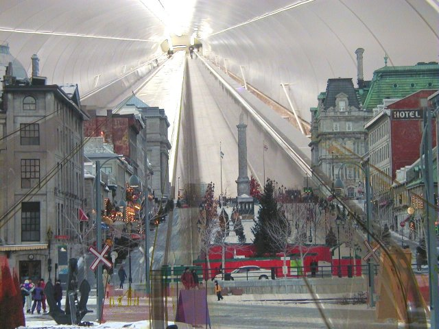 Blend of Place Jacques Cartier with escalator from Beaudry Metro Station, Montreal